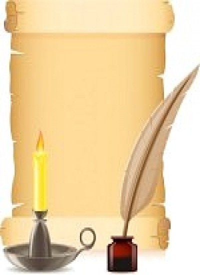 10654014-old-paper-conflagrant-candle-and-feather-with-inks-vector-illustration