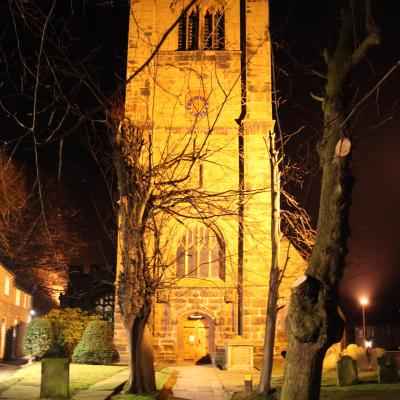 Church Clock At Night